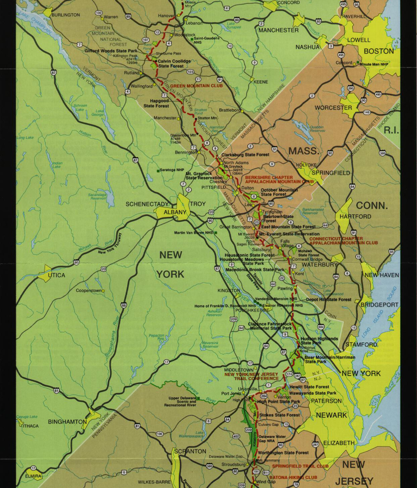 Hike The Appalachian Trail - Appalachian trail new hampshire map